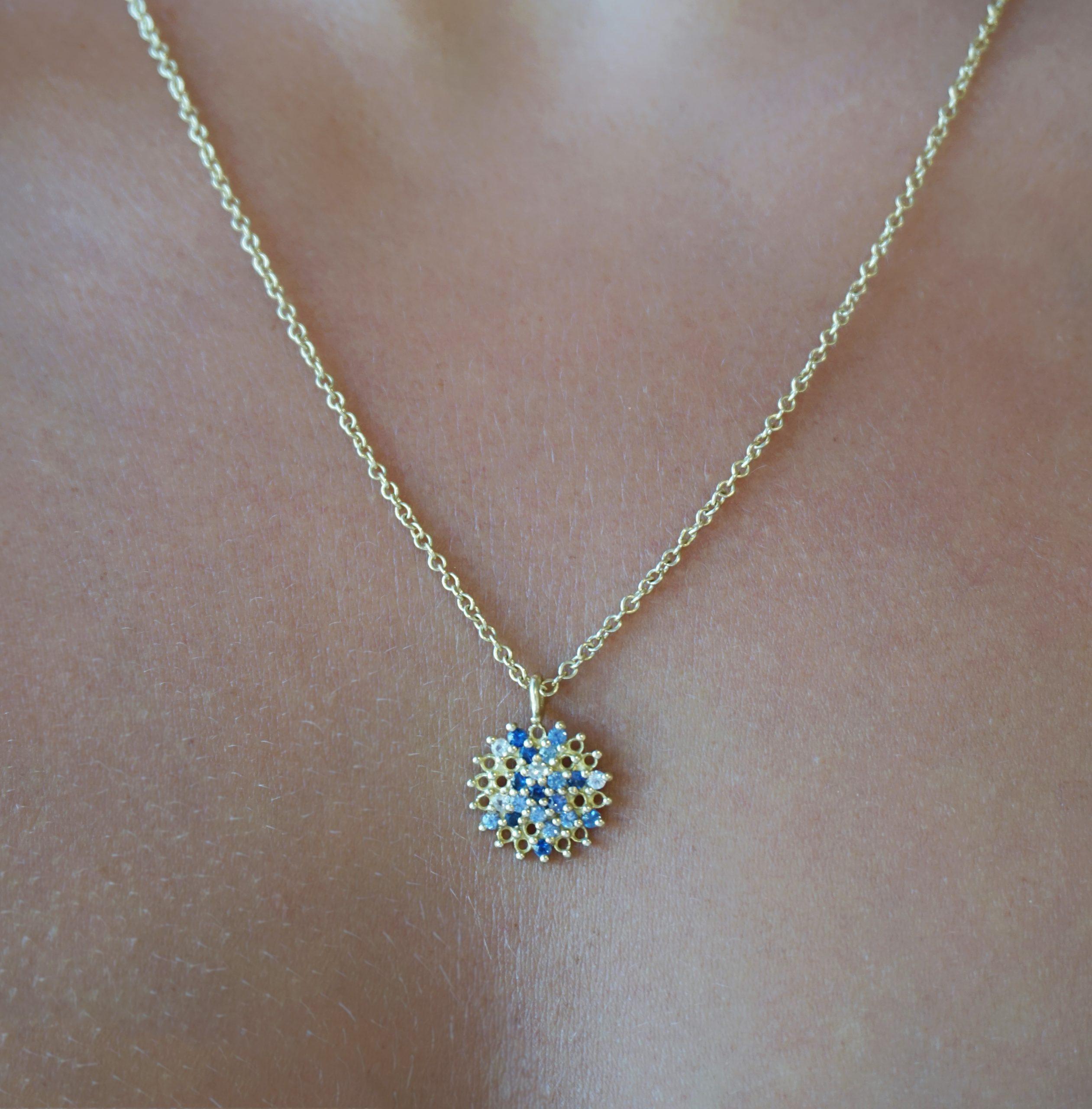 Autumn Sapphire and Diamond Pendant