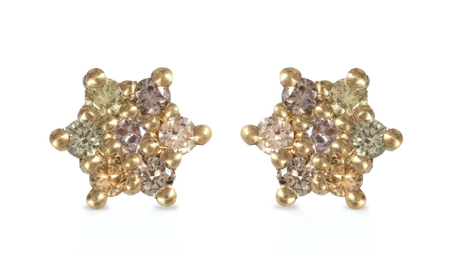 Coloured Diamond Star Stud Earrings