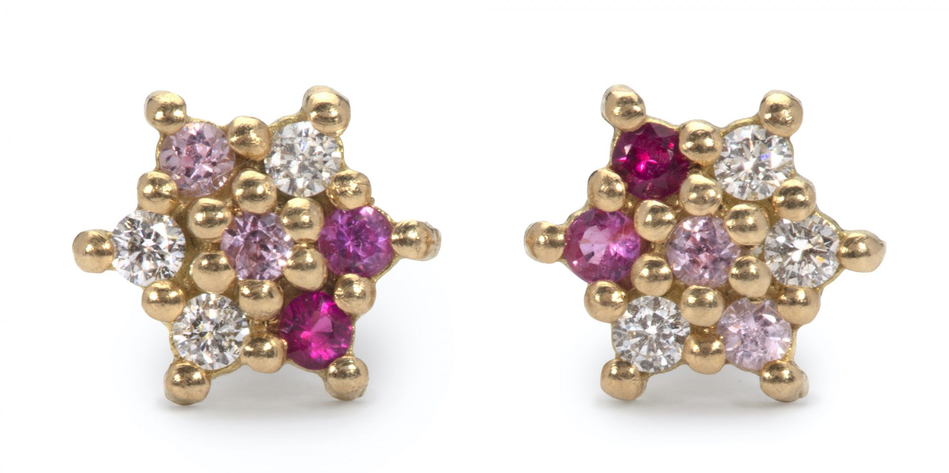 Ruby Sapphire and Diamond Star Stud Earrings