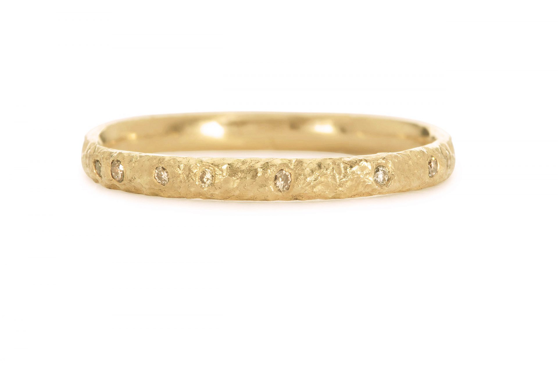 Coloured Diamond Scattered 18ct Yellow Gold Eternity Ring 2mm